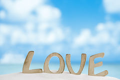 Love message on Florida beach  under the sun light Royalty Free Stock Photo