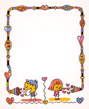 Love message frame. With cute girl and a boy Royalty Free Stock Photo