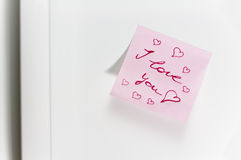 Love message on fridge Royalty Free Stock Photos
