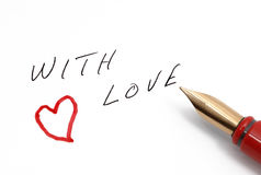 With love message handwritten stock image