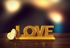 Love message with heart jigsaw and blur background for Valentine`s day. 3D rendering Royalty Free Stock Photo