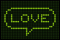 Love Message on LED Dot Matrix Display Stock Image