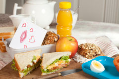 Love message with lunch Royalty Free Stock Photography