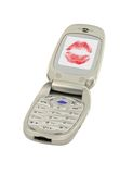 Love message in mobile phone Stock Images