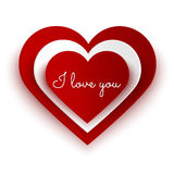 Love message on paper heart  on white Stock Photos