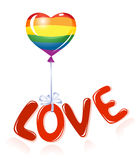 Love message with rainbow balloon Royalty Free Stock Photography