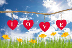 Love message on red heart Royalty Free Stock Image