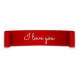 Love message on red ribbon banner  on white Stock Photo