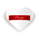 Love message with red ribbon banner on white paper heart  on white Stock Images