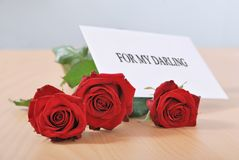 Love message - roses Royalty Free Stock Photo