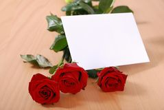 Love message - roses with envelope Stock Images