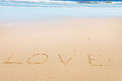 Love message on sand Royalty Free Stock Images