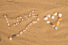 Love message on sand Royalty Free Stock Photography