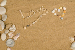 Love message on sand royalty free stock photos