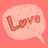 Love message in speech bubble Stock Images