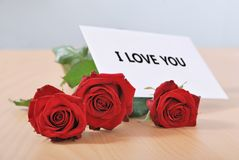 Love message on table Stock Photography