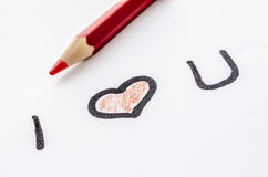 Love message and on a white paper Stock Photos
