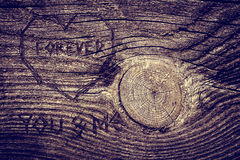 Love message on wood. Love message on old wood Stock Photography