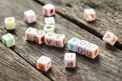 Love message written in  blocks Stock Image