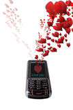 Love messages. A mobile love message with love hearts signals with clipping path stock photos