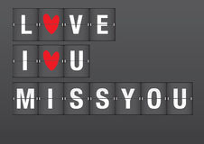 Love Messages on Airport Flip Board vector illustration