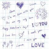 Love messages and doodles vector illustration