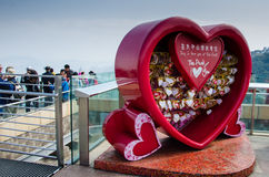 Love messages in the red heart at Victoria Peak in Hong Kong Royalty Free Stock Images