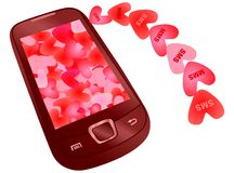 Love messaging. Sms and mms hearts flying to mobile Stock Photo