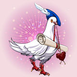 Love messenger. Illustration with pigeon in herald clothes bringing love message in his beak against festive bubbles background stock illustration