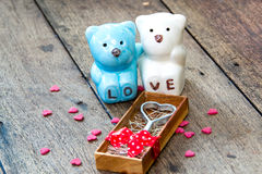 Love metal  in box and and Ceramic bears Royalty Free Stock Image