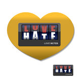 Love meter. Love and hate meter. Device for measuring instrument. Of love and hatred. Placards with letters Royalty Free Stock Image