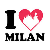Love milan logo with dome church. Vector illustration of a heart with coliseum for lovers of the great fashion city of milan Stock Photo