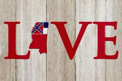 Love Mississippi message with the Mississippi state map in the Mississippi flag colors stock images