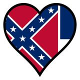 Love Mississippi. Mississippi state flag within a heart all over a white background Royalty Free Stock Images