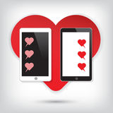 Love Mobile phone with heart chat Stock Photography