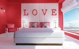 Love-Modern bedroom interior for Valentine`s day. 3D rendering stock photos