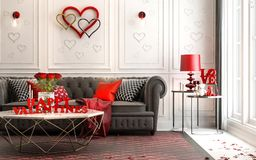 Love - modern Luxury classic interior for valentine`s day. Livin Royalty Free Stock Photography
