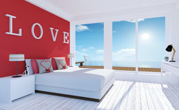 Love-Modern and minimal bedroom interior with sea terrace for Valentine`s day. 3D rendering stock photography