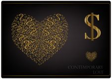 Love in the modern world. Golden heart and dollar on a black background Royalty Free Stock Image