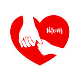 Child hold mom`s hand in red heart shape. Love mom concept. Vector illustration isolated on white background Stock Image