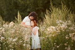 Love mom and daughter. family, child and parenthood concept stock photo