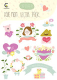 Love mom Happy mother's day vector pack include element for deco. Love mom Happy mother's day vector pack include element  decorate card,invitation,school,cover Royalty Free Stock Images