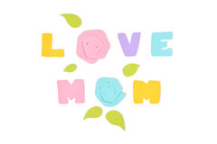 Love mom text paper cut on white background. Isolated Stock Photo