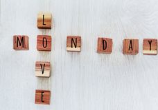 Love Monday Sign. Love Monday Text from wooden letters Royalty Free Stock Photo