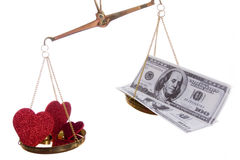 For Love or Money. The question in which love wins Stock Images