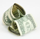 Love Money. Concept with two heart-shape us dollar bills Stock Photography