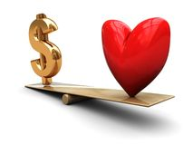 Love and money. 3d illustration of heart and dollar sign on scale Royalty Free Stock Images