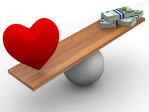Love or Money. 3d Very beautiful three-dimensional illustration Royalty Free Illustration