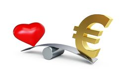 Love or money balances. On a white background Royalty Free Stock Photography