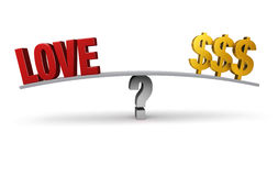 Love Or Money?. A bright, red LOVE and three gold dollar signs sit on opposite ends of a gray board balanced on a gray question mark.  on white Royalty Free Stock Photography